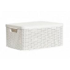 CURVER 03618-885 Корзина с крышкой RATTAN STYLE BOX M кремовая (2)