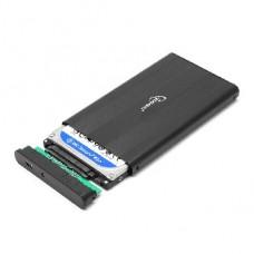 GEMBIRD (13045) EE2-U2S-5 внешний корпус 2.5, черный, USB 2.0, SATA, металл
