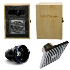 MAGDRAIN F01Q5-G Трап латунный, хромированный 100х100 выход 50мм вертикальный - крышка решётка , в д