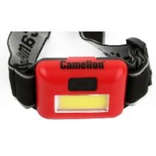 CAMELION LED5357 (фонарь налобн, красн.,1Вт COB LED, 3 реж, 3XAAA, пласт, блист)